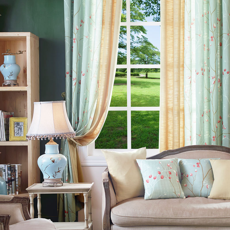 Green Curtains Bedroom Custom Made Window Panels Pastoral Curtains