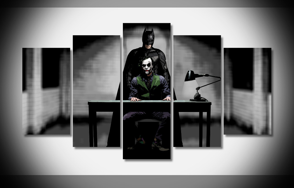 2714 joker and batman the dark knight rises movie Poster Framed Gallery wrap art print home wall decor wall picture