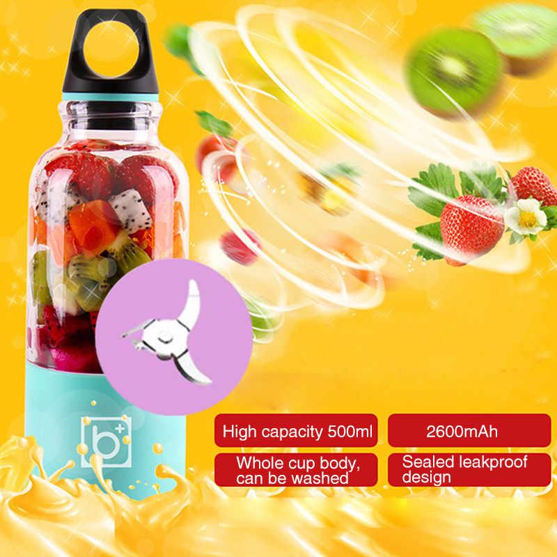 Lâminas 4 Mix Liquidificador Pro Liquidificador Elétrico Recarregável USB Portátil 500ml Copo Juicer Extractor Shakes Fruit Smoothie Mistura Jet