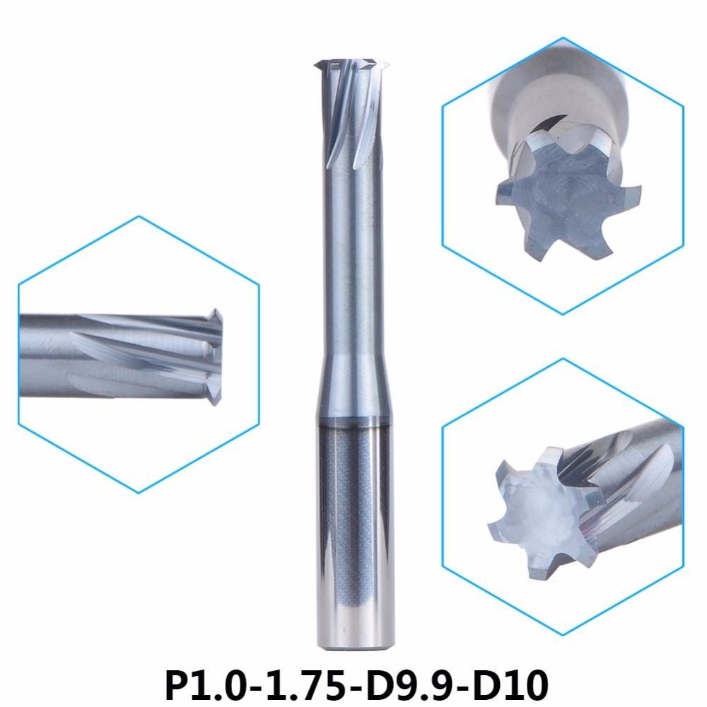 1PC/P1.0-1.75-D9.9-D10 alloy Single thread milling cutter 6-Flute thread end mill cutting Tools for metric 1.0-1.75mm pitch Tool free shiping1pcs aju c10 10 100 10pcs ccmt060204 dia 10mm insertable bore drilling end mill cutting tools arbor for ccmt060204