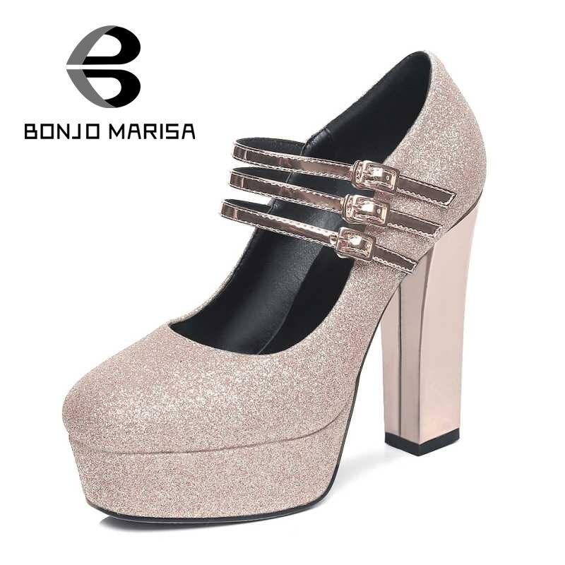 ФОТО BONJOMARISA Big Size 32-42 Sexy Mary Jane Style Women Square High Heel Shoes Party Wedding Dress Platform Pumps