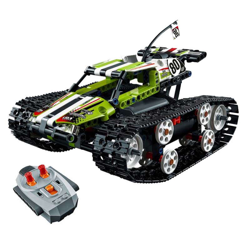 Motor Power Function Rc Tracked Racer Car Electric Fit Legoings Technic Car 42065 Speed Car Building Block Bricks Model Kid Gift in Blocks from Toys Hobbies