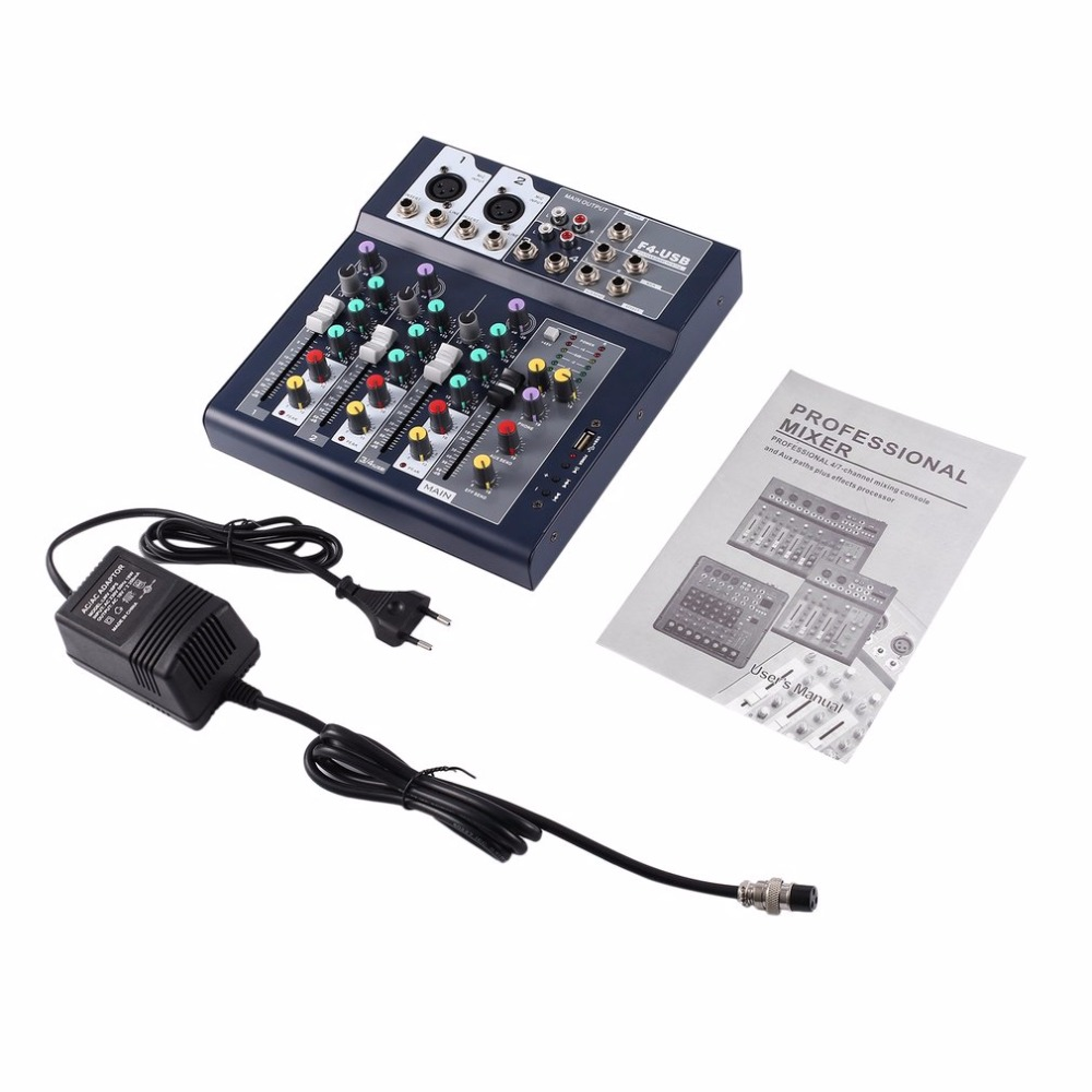4 Channel Professional Live Mixing Studio Audio Sound Console Network Anchor Portable Mixing Device Vocal Effect Processor