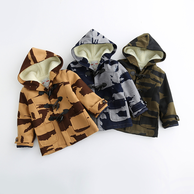 Autumn Winter Baby Boys Fashion Cotton Woolen Camouflage Print Outerwear Casual Kids Horn Button Coats Children Blends 5pcs/LOT