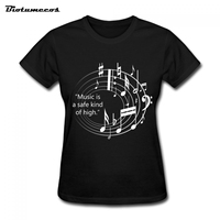 2017 Women Fashion T Shirts Short Sleeve 100 Cotton Tees Musical Note Printed T Shirt Brand
