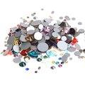 Los Colores mezclados No Hotfix Rhinestones no SS4 SS5 SS6 SS8 SS10 SS12 SS16 SS20 SS30 Silver Foiled Flatback Granos DIY suministros