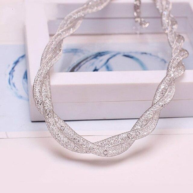 Moda collares de alambre hueco zirconia CZ piedra collar exagerado corto novia accesorios