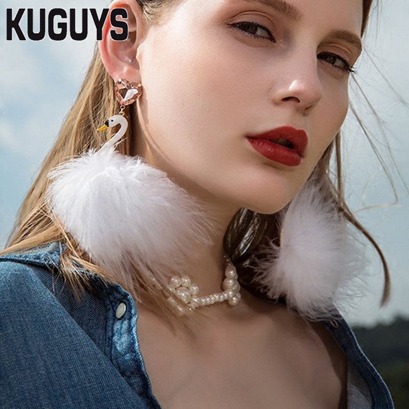 KUGUYS Pink Feather Flamingos Trendy Earrings Fashion Jewelry Alloy Crystal White Swan Luxury Drop Earrings for Women pair of trendy faux turquoise leaf alloy drop earrings for women