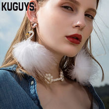 hot deal buy kuguys pink feather flamingos trendy earrings fashion jewelry alloy crystal white swan luxury drop earrings for women