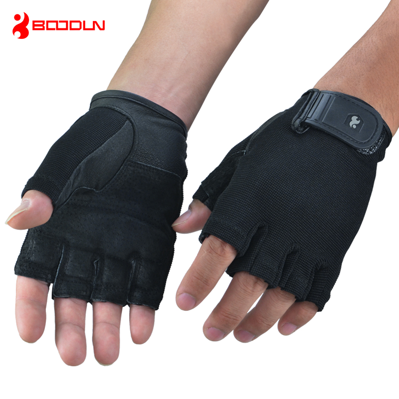 Genuine Leather Black Gym Crossfit Fitness Gloves dumbbell barbell Sports Equipment Weight Lifting Wrist Wrap Guantes Luva