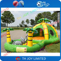 jungle theme inflatable bouncer for kids / outdoor bouncer with ball pool