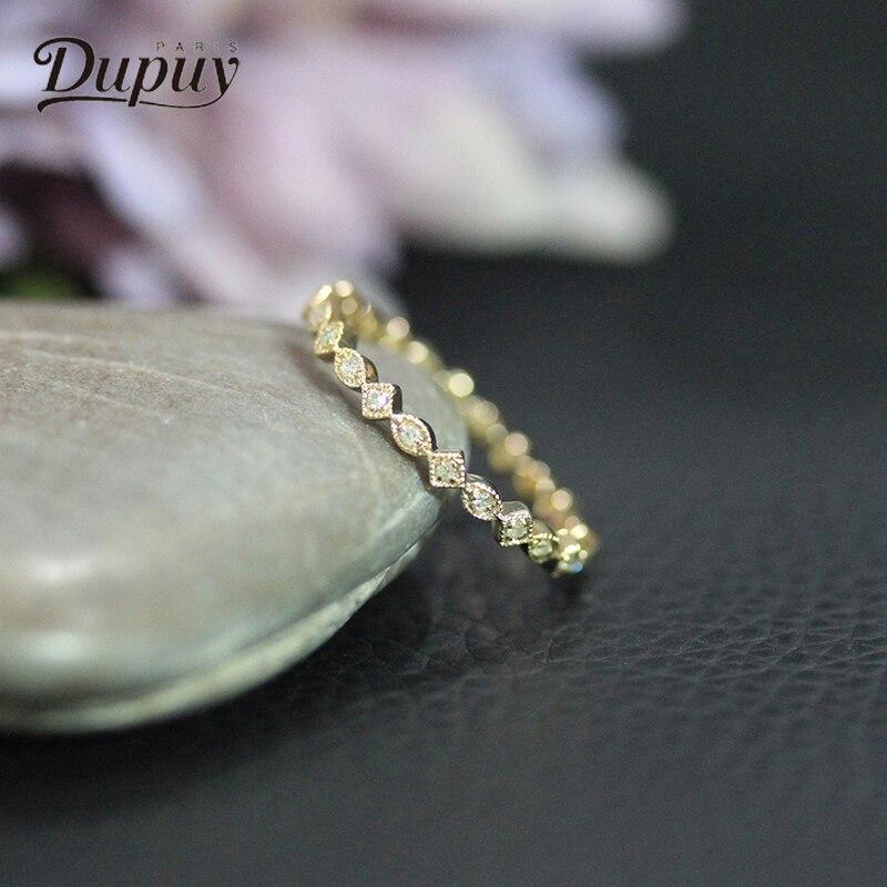 DUPUY Latest Design Engagement Ring 14K Gold Diamond Wedding Ring Female Jewelry Round S ...