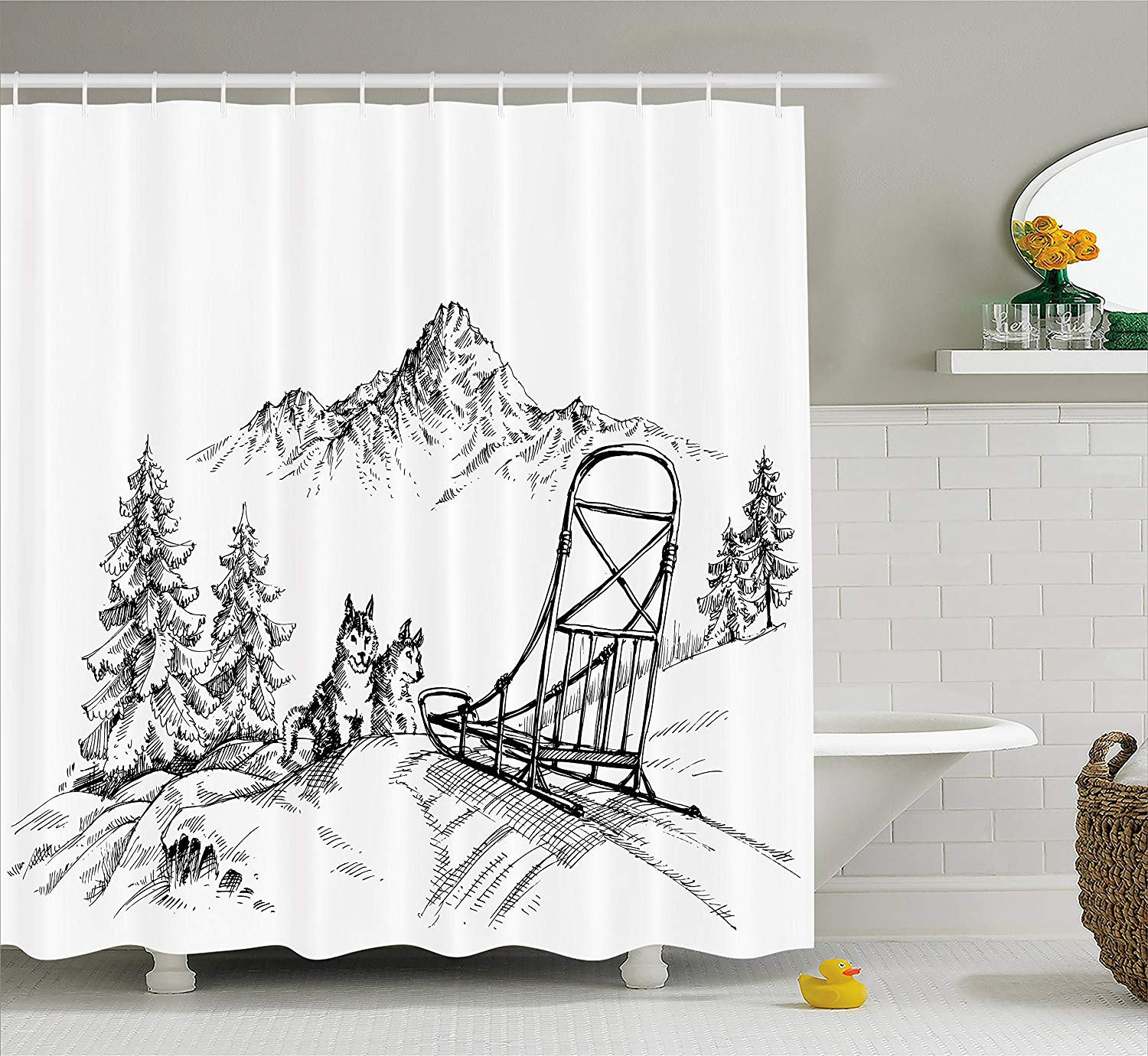 Waterproof Dalmatians Christmas Sleigh Shower Curtain