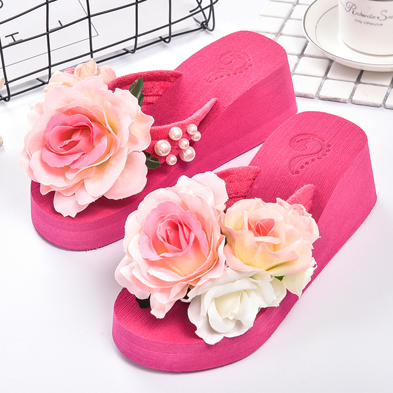 f0fea460eeca7b Aliexpress.com   Buy summer women flip flops mules clogs wedge flower  sandals garden shoes handmade pearl slippers jelly color hawaiian beach  sandals from ...
