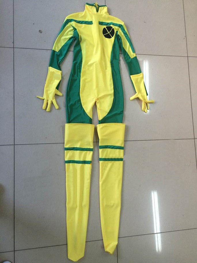 2015 Halloween Costume, X-Men Rogue Costume, Yellow And Green Lycra Spandex Catsuit Superhero Cosplay Costume For Women