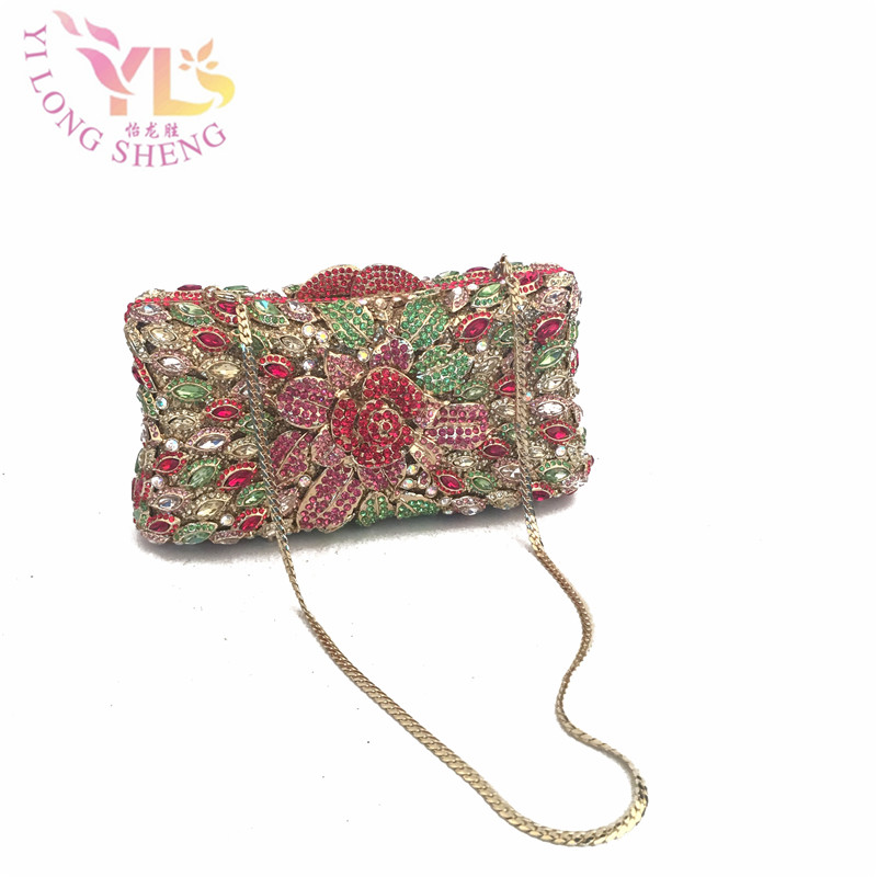 Grade A Crystal Clutch Women Crystal Flower Evening purse clutch bag Bridal Purses Wedding Prom Box Clutch Bag Handbags YLS-F27 blue women clutch crystal evening bags women rhinestone hard box clutch purse evening bags hard box cocktail wedding bag yls 32