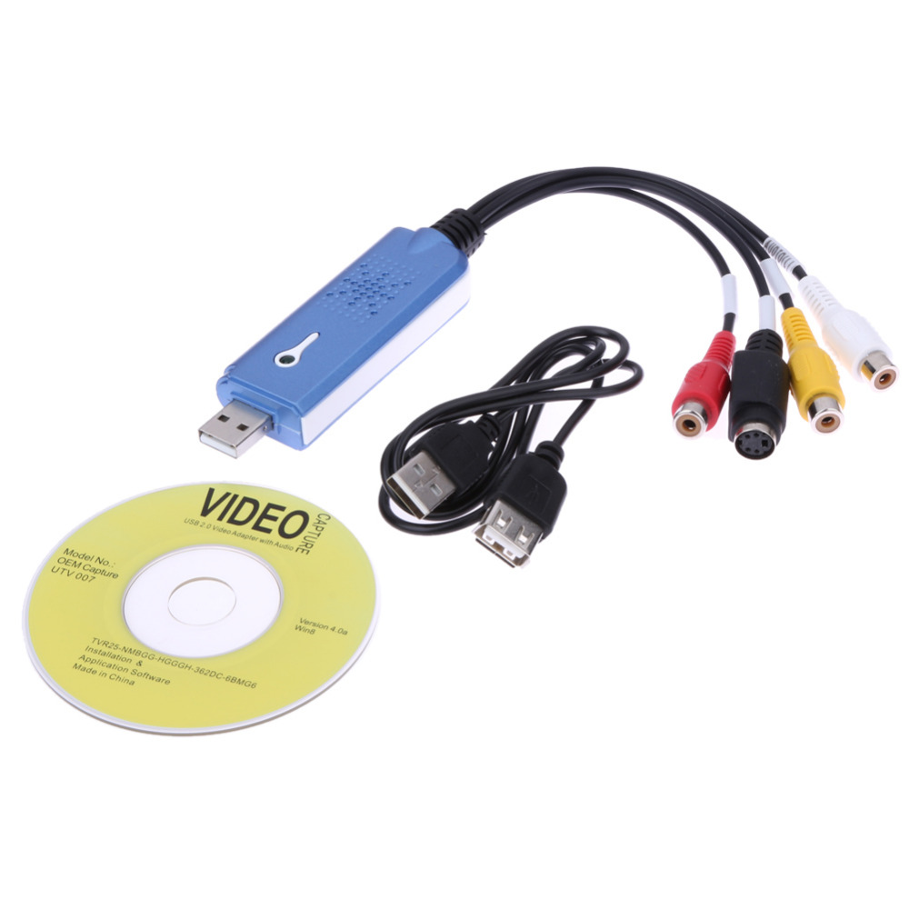 Convertidor USB 2.0 audio video tarjeta de captura Grabber adaptador TV sintonizador para ordenador WIN7 NTSC PAL DVD vivienda con seguridad seguridad