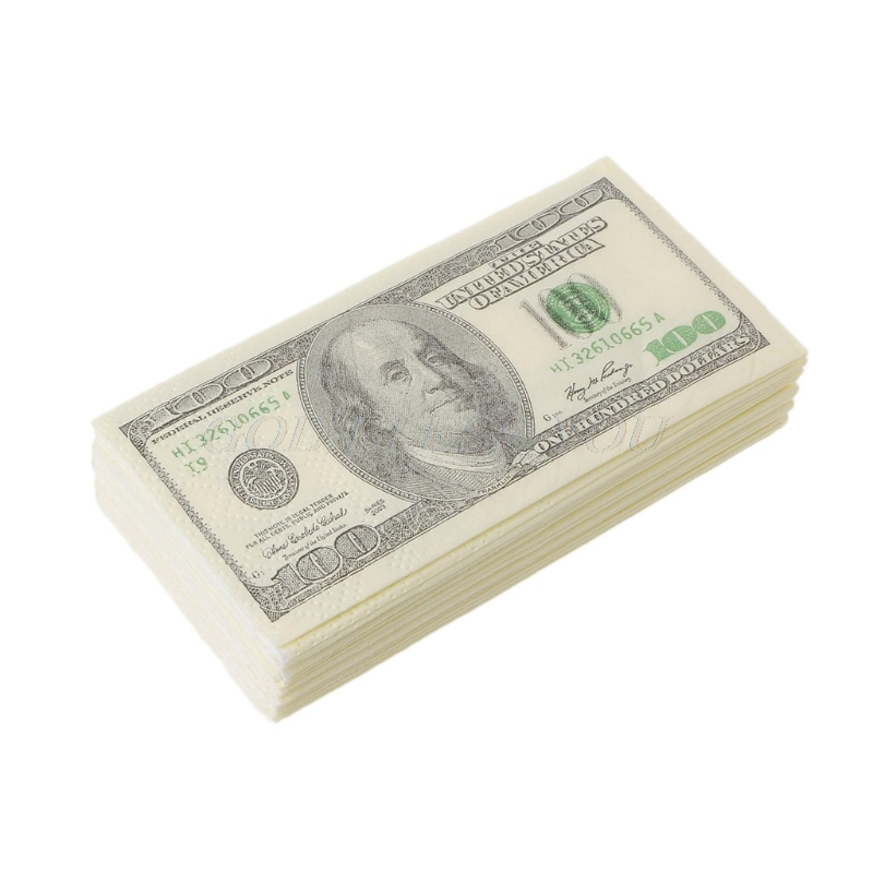 9PCS/1 Pack 3 Layers New Novelty Funny 100 Dollar Money Printed WC Bath Funny Pocket Tissue Paper Napkins Party Supplies Gift