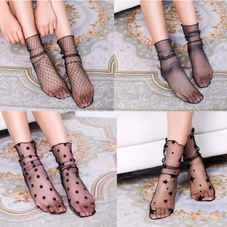 10 Pairs/lot  Lady Girl Sexy Fishnet Lace Nylon Socks Mesh Thin Women Short Socks Black Color for Spring ,Summer