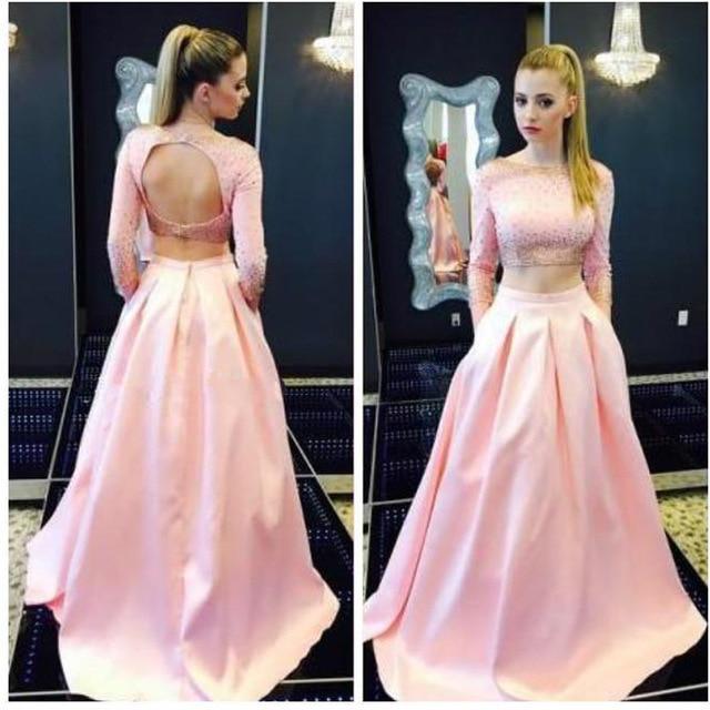 2017New Two Pieces Prom Dresses Long Sleeves Vestido de Fiesta ...