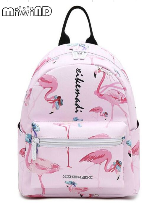Miwind F Cartoon animal print backpack gradient color letters new sweet spring summer fashion famous brands