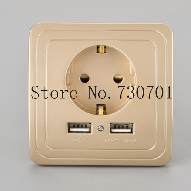 Free Shipping 16A EU Standard Electrical Outlet With 2100mA Dual USB ...