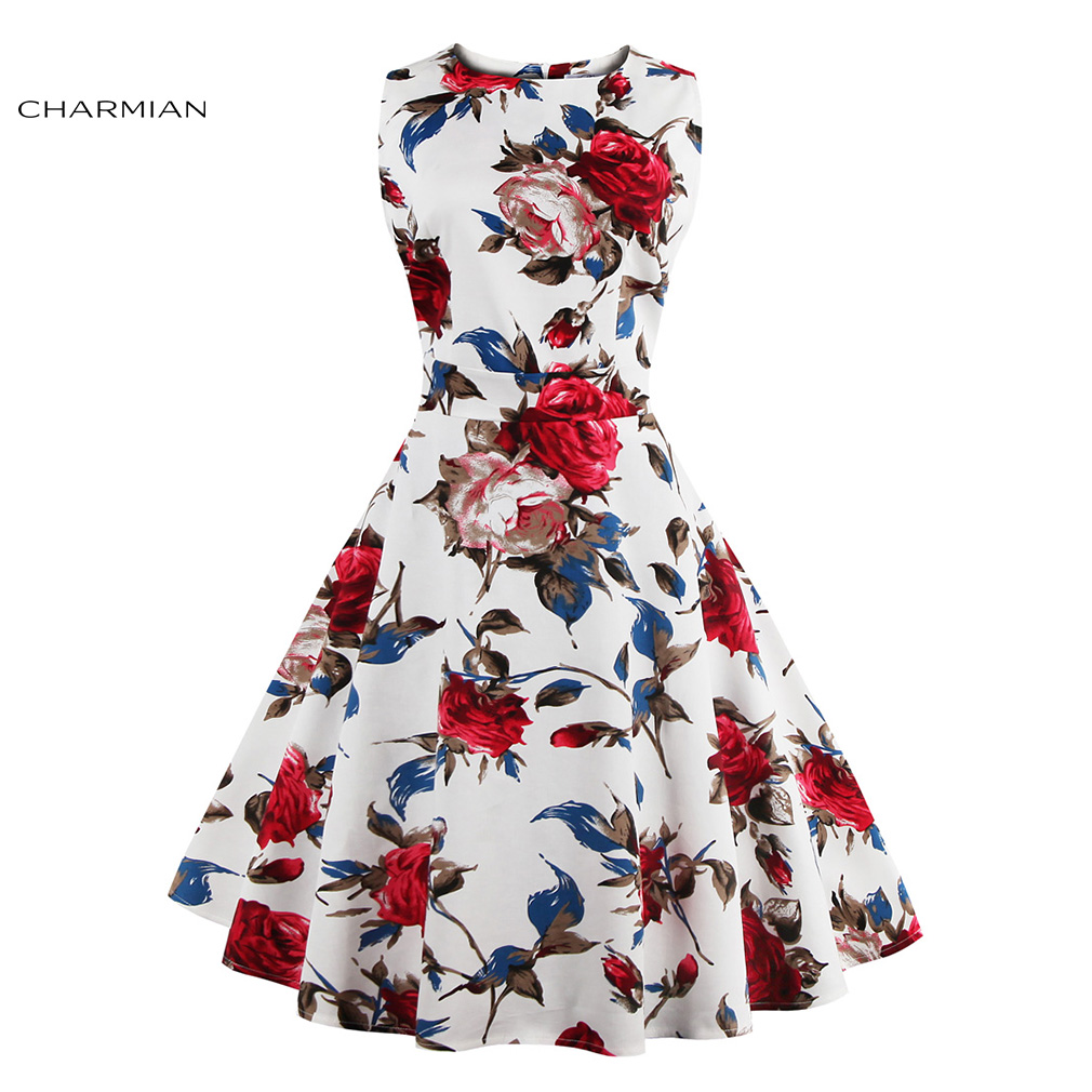 Charmian women 39 s vintage retro dress foral print for Rockabilly outfit damen