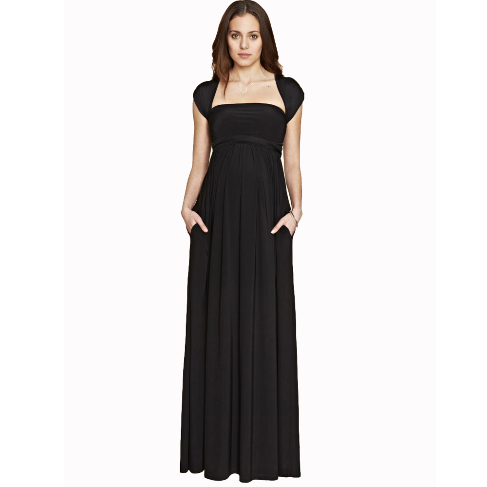 6635370dd6be8 Black Maternity Maxi Dress for Pregnant Women Long A Line Draping Evening  Prop Formal Dress Wipes Bosom Dress for Working Mommy-in Dresses from  Mother ...
