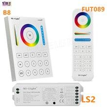 미 라이트 2.4G 무선 8 존 RF 조광기 FUT089 원격 B8 터치 패널 벽 장착형 LS2 5 in 1 led 컨트롤러 RGB + CCT