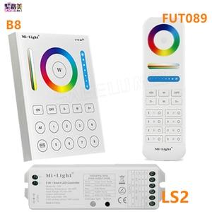 Image 1 - Mi Light 2.4Gไร้สาย 8 Zone RF Dimmer FUT089 Remote B8 TouchแผงติดผนังRgbww LS2 5 ใน 1 Led ControllerสำหรับRGB + CCT