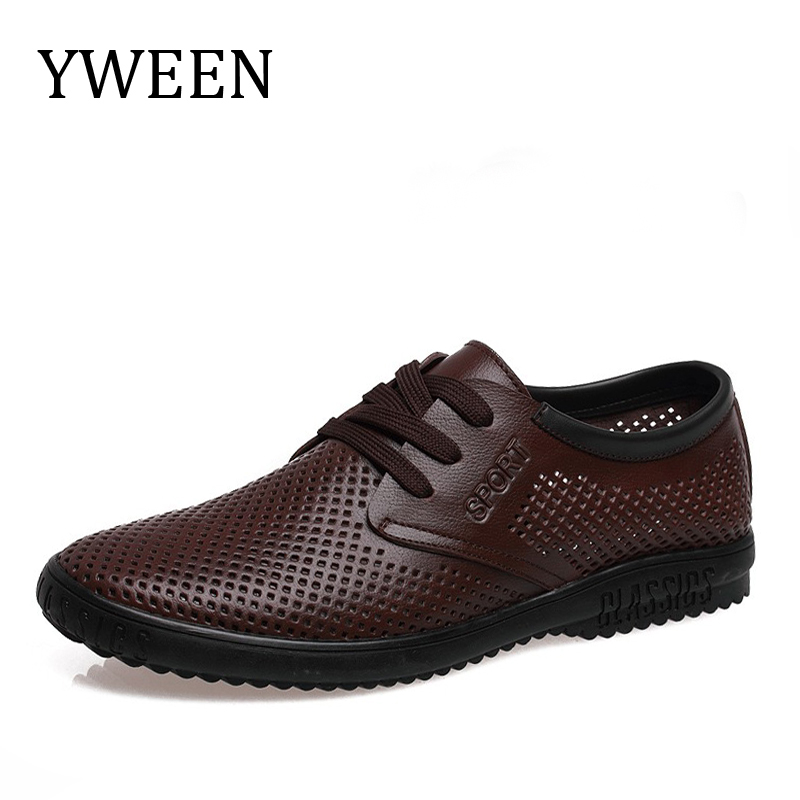 YWEEN Summer Breathable Shoes Mens Casual Shoes Genuine Leather lace up shoes Fashion Summer Shoes Man