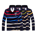 2017 famosas de la marca 100% de algodón de manga Larga camisa de POLO hombres de Tiburón tire homme marca Casual Slim Fit camisa camisas de marca XXXL
