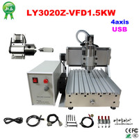 Ship From Germany 4 Axis CNC 3020 1500W Ball Screw USB CNC Router Engraver Milling Machine