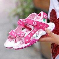 ULKNN Pink beach sandals 2018 summer new girlscartoon cute princess shoes slip open toe beach Sandals girls shoes wholesale
