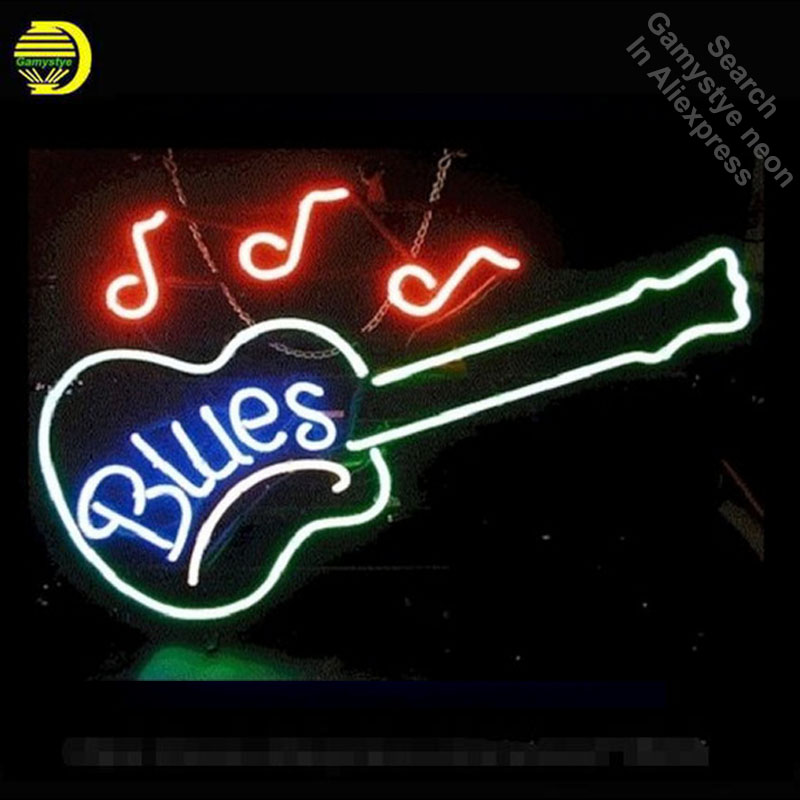 NEON SIGN For Blues Guitar Glass Tube Music Handcrafted With Metal Frame Artwork Great Gifts Night Lamp Super BRIGHT Advertise dedo music gifts mg 308 pure handmade rotating guitar music box blue