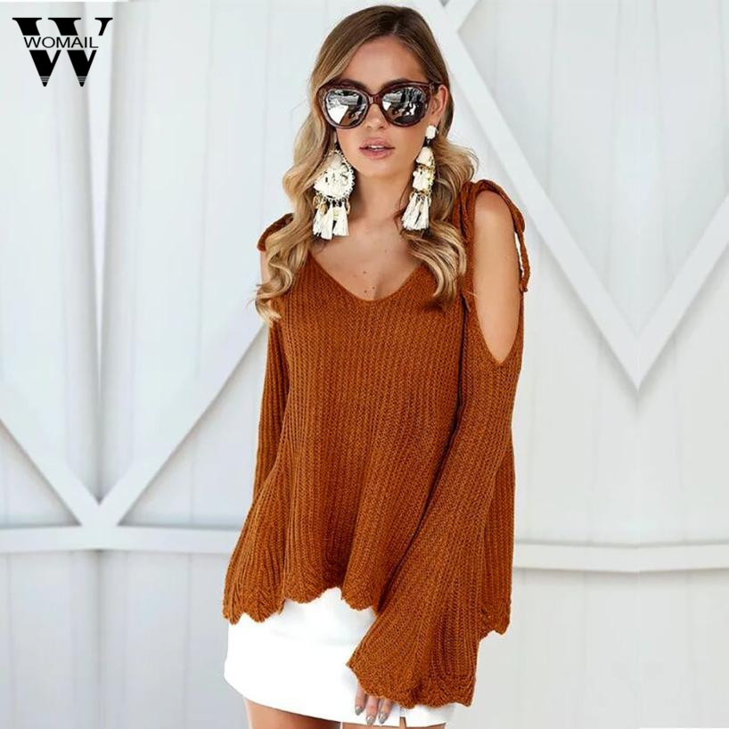 Fashion knitted pullover sweater Women soft jumper pull femme Autumn winter 2017 off shoulder warm knitting sweater