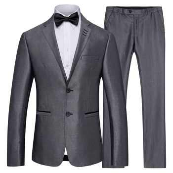 S-4XL New Men's Grey Business Suits Men Casual Groom Groomsmen Wedding Suit+Trousers for Male Autumn Winter - DISCOUNT ITEM  45% OFF All Category