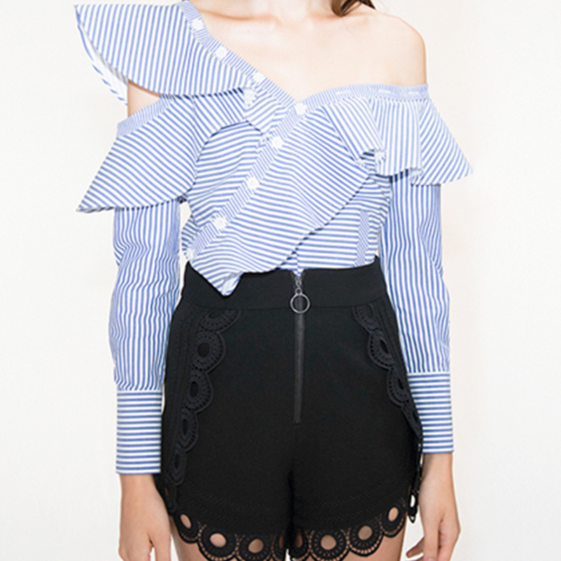 And Long Pieces Clothing 2019 Pant 2 Summer Sleeve Women Blue Sets Ruffles Blouse Picture Casual As Shirt Striped 6xwZvI7U