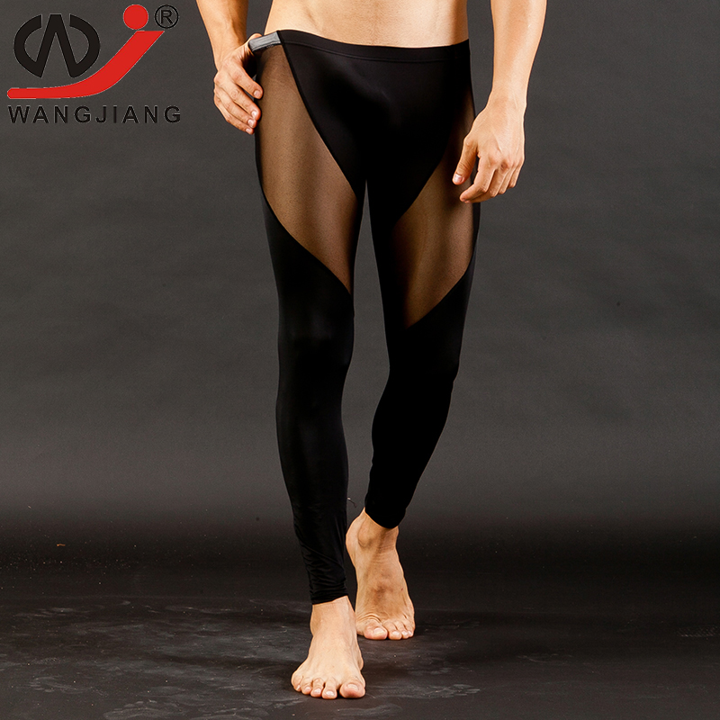 Mens Long Johns Mesh Sexy Separate Lace Trousers Tight Comfortable See Underwear Low Rise Leggings WJ Man Sleep Bottoms