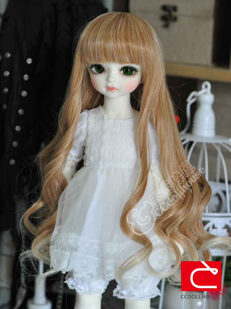 1/3 1/4 1/6 Bjd SD Doll Wig High Temperature Beautiful Long Wavy Brown To Blonde BJD Super Dollfile For Doll Hair Wig wig refires bjd hair 25cm length black brown flaxen golden natrual color long straight wig hair for 1 3 1 4 bjd diy