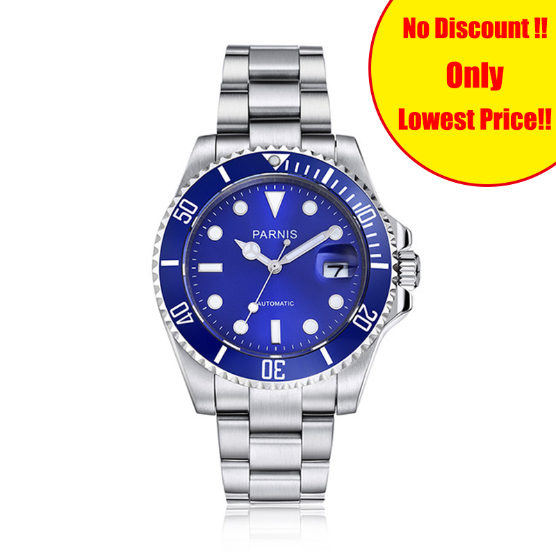 Parnis 40mm Mens Automatic Watch Blue Dial Ceramic Diving 100m Stainless Steel Mechanical Men Watches mekanik erkek kol saatiParnis 40mm Mens Automatic Watch Blue Dial Ceramic Diving 100m Stainless Steel Mechanical Men Watches mekanik erkek kol saati