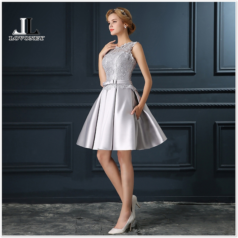 LOVONEY T401 Real Photo Sexy   Prom     Dresses   2019 A-Line Short   Prom     Dress   with Pockets Formal Evening Party   Dresses   Robe De Soiree