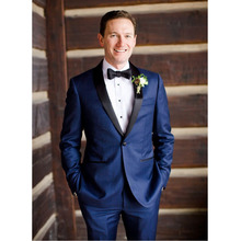 FOLOBE Costume Mariage Homme Custom Made Blue Slim Fits Suits Tuxedo Wedding Suits for Men Groom
