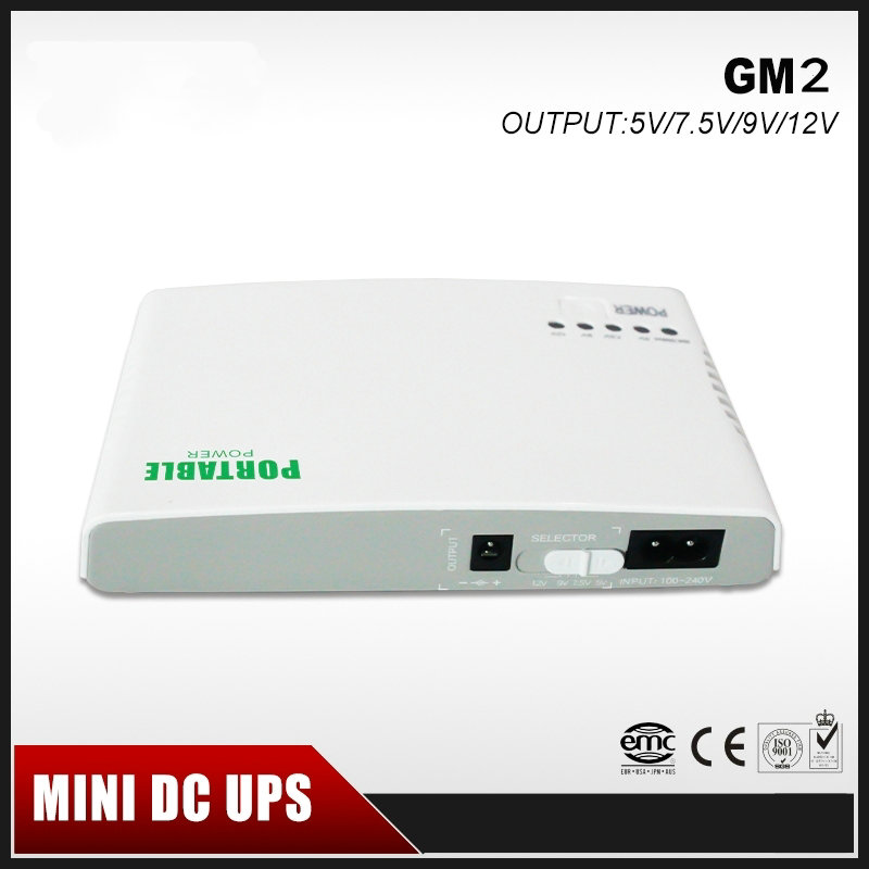GM2 Mini Portable UPS 5V/9V/12V DC Output Online Power Supply With Lithium Battery Max 6hours Backup Time for CCTV Free Shipping