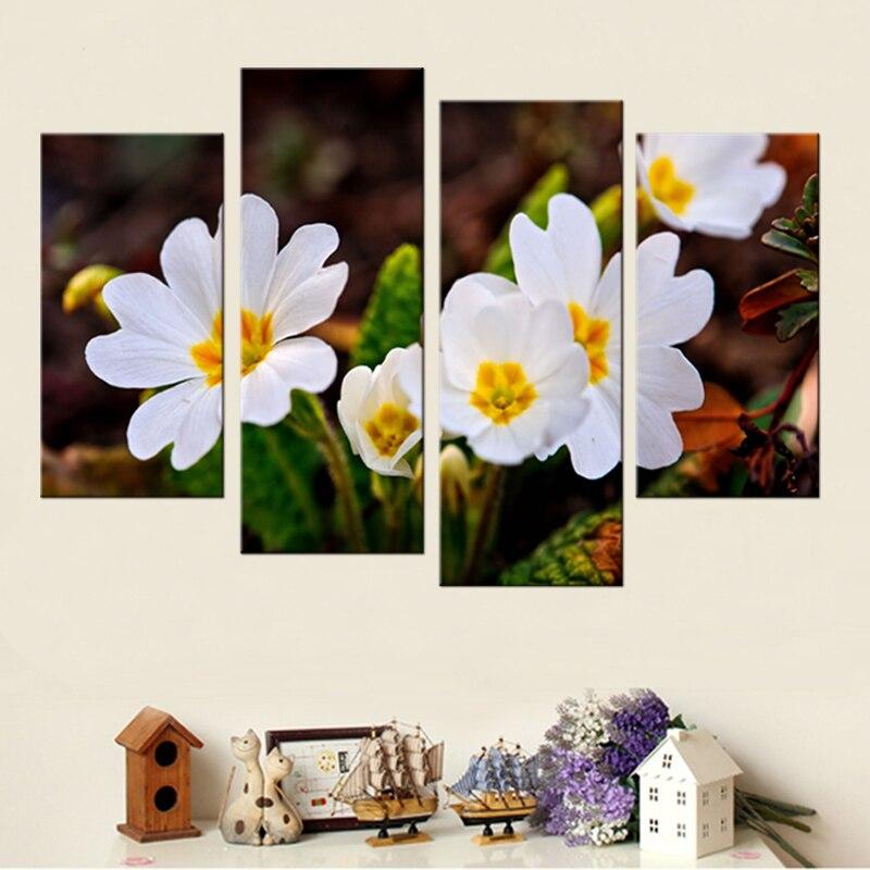 4 panel HD ağ çiçəklər bitki rəsm kətan rəsm sənəti çap - Ev dekoru - Fotoqrafiya 2