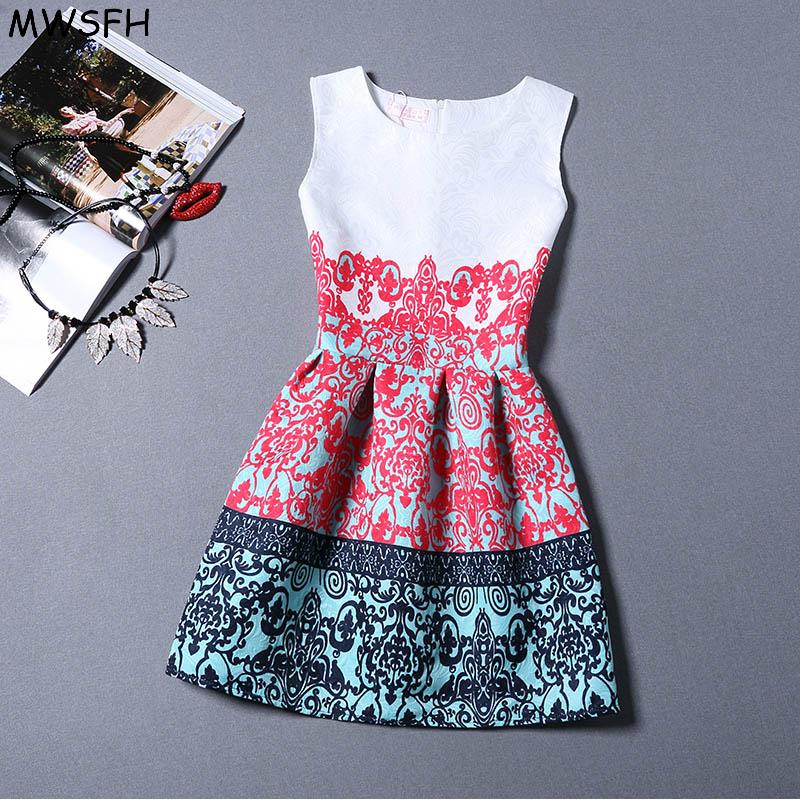 NWSFH Women Fashion Dress Retro Round Neck Printing Sleeveless Women - Women's Clothing