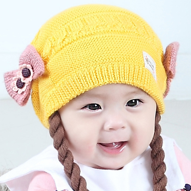 Knitted Baby Hat For Newborn Girls Flower Bow Infant Baby Hats Caps Warm Girl  Cap Thick 3f606c20f01a