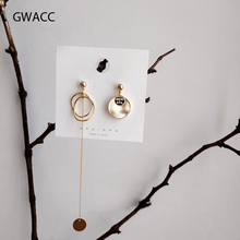 GWACC 2019 NEW Design Long Asymmetrical Tassel Earrings For Women Girls Super Fairy Metal Round Fashion Jewelry boho