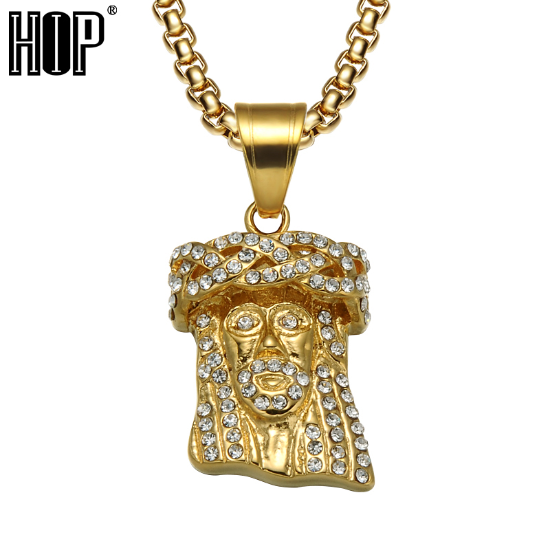 HIP Hop Gold Farbe Titan Edelstahl Iced Out Bling Volle Strass Jesus Stück Kopf Anhänger Halsketten für Männer Schmuck