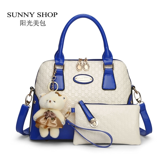 SUNNY SHOP Casual Embossed Brand Designer Handbags Socialite Women Messenger Bags Fashion Shoulder  2 bags/set with bear toy 45Z